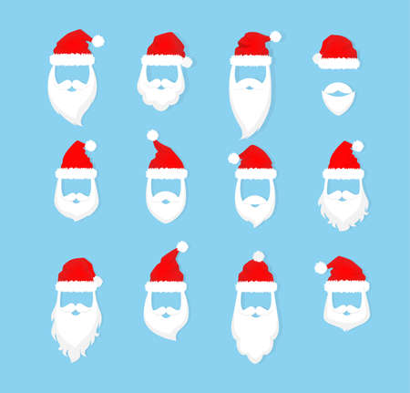 Santa Claus mask with red hat and white beard and moustache set. Collection of xmas party masks. Element of christmas costume. Flat vector illustration