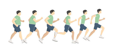 Fat man lose weight while running or jogging. Become slim doing sport exercise. Healthy and active lifestyle. Isolated flat vector illustration