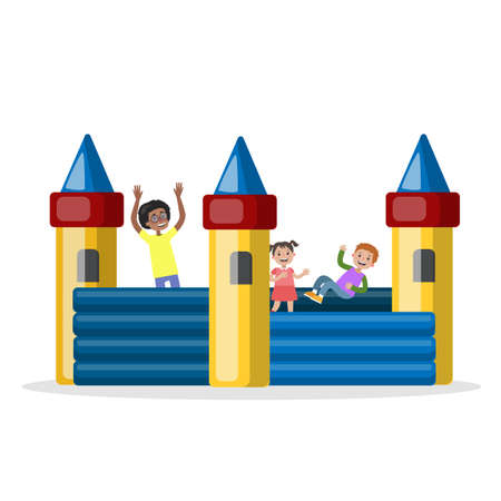 Children play in the bouncy castle in park