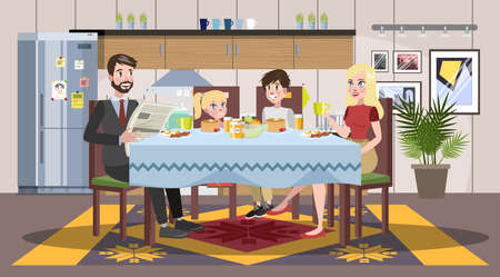 Family having breakfast at the kitchen table. Happy parents and children eat together. Father and mom, son and daughter on the lunch or dinner. Isolated flat vector illustration