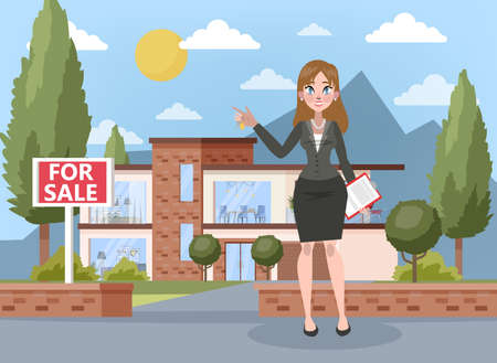 Real estate agent concept. House sale offering. Illustration