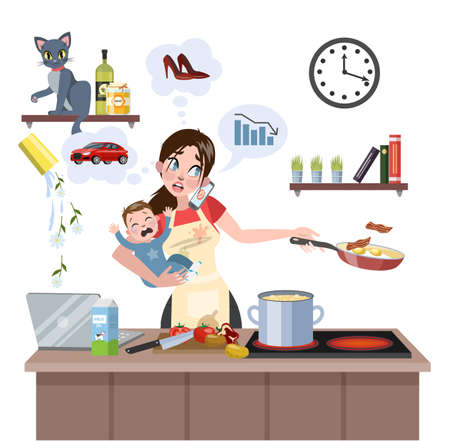 Busy multitasking mother with baby failed at doing many thing at once. Tired woman in stress with messy around. Housewife lifestyle. Isolated flat vector illustration 일러스트