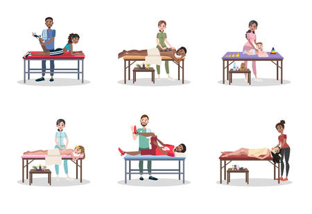 Doctor making massage to the people set. Professional treatment and body relaxation. Massage for sportsman and baby. Spa procedure. Vector flat illustration
