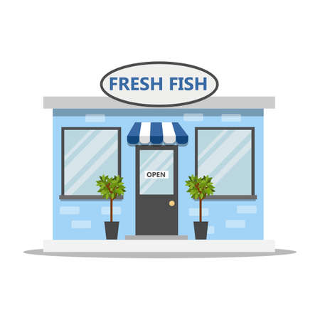 Front side of a fresh fish store. Shop with a sea food. Marine market on the street. Vector flat illustration Illustration