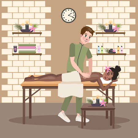 Man making massage for a young pretty woman Illustration