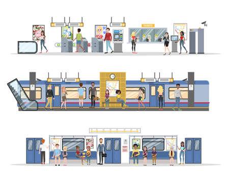 Subway interior with train and railway set 일러스트