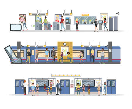 Subway interior with train and railway set Ilustração