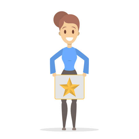 Woman holding a banner with golden star and smiling. Rate the product quality. Idea of feedback and review. Isolated flat vector illustration