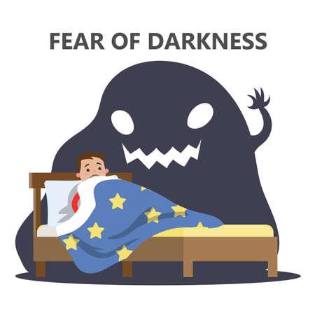 Miedo al concepto de oscuridad. Niño asustado del monstruo de la pesadilla. Acostado en la cama sin dormir y con miedo a los fantasmas. Ilustración de vector plano aislado