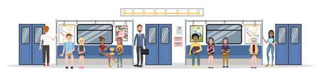 Subway train interior and railway. Passengers in metro
