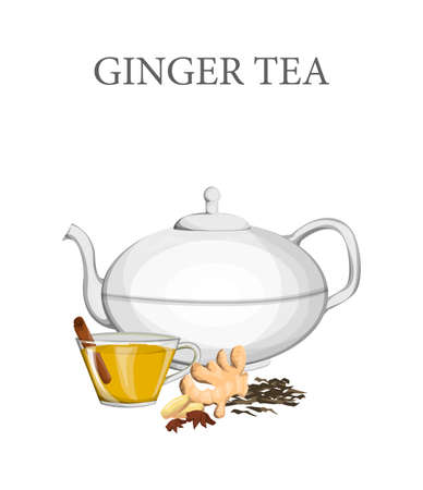 Ceramic teapot with ginger tea and glass cup