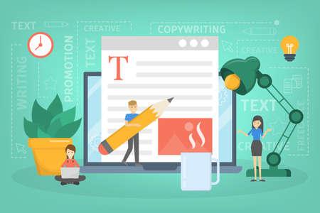 Copywriter concept. Idee van het schrijven van teksten, creativiteit Vector Illustratie