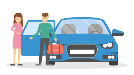 Man open car or taxi door for pregnant woman. Guy holding opened automobile door for wife. Isolated flat vector illustration