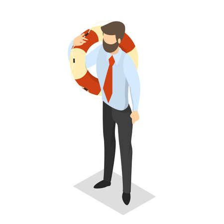 Businessman in a suit holding a lifeline. Idea of safety and insurance. First aid and emergency help. Isolated vector isometric illustration