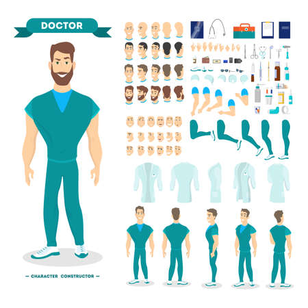 Male doctor character set for the animation
