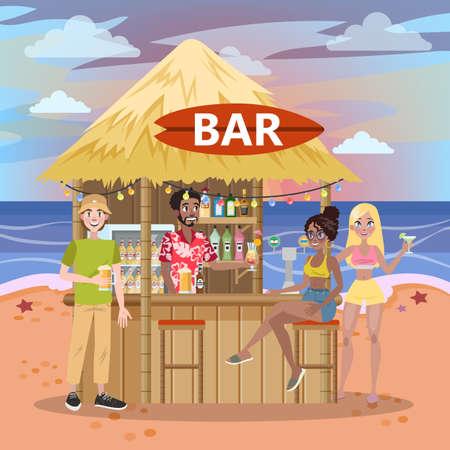 La gente bebe cócteles en el bar de la playa.