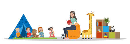 Kindergarten interior with woman reading a book Ilustração