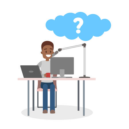 Hombre afroamericano haciendo podcast y hablando por el micrófono. Radio y difusión. DJ masculino divirtiéndose. Guy hace una pregunta con bocadillo. Ilustración vectorial plana