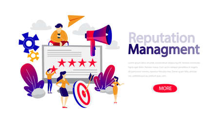 Reputation management concept horizontal banner for website. Building relationship with people and improving customer loyalty. Idea of rating and feedback. Flat vector illustration