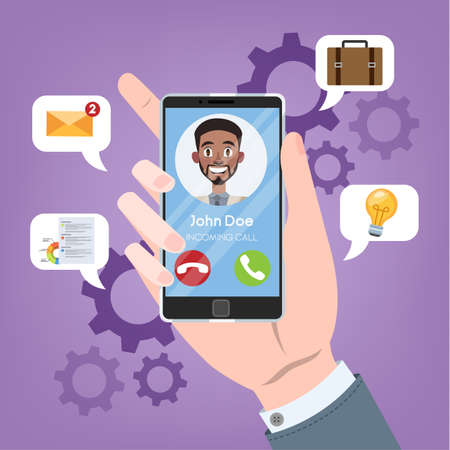 Incoming call from the person on mobile phone. Hand holding smartphone with man on display. Connection and communication through digital device. Wireless technology. Vector flat illustration