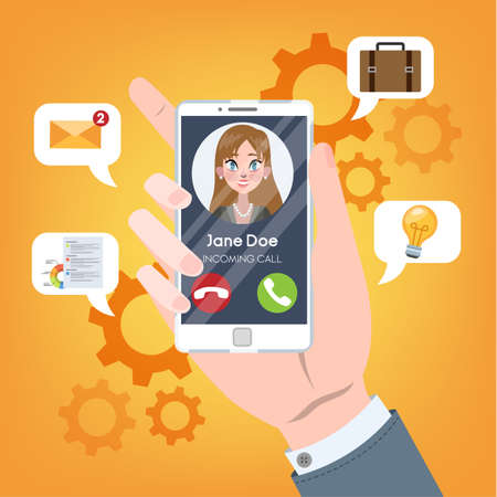 Incoming call from the person on mobile phone. Hand holding smartphone with woman on display. Connection and communication through digital device. Wireless technology. Vector flat illustration Stock Illustratie