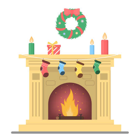 Fireplace with christmas decoration and gift on it. Cozy home room interior element. Warm from the flame. Isolated flat vector illustration