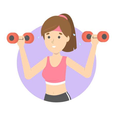 Bellissimo personaggio femminile facendo esercizio sportivo con manubri in palestra. Allenamento per un corpo snello. Stile di vita attivo. Illustrazione vettoriale piatto isolato