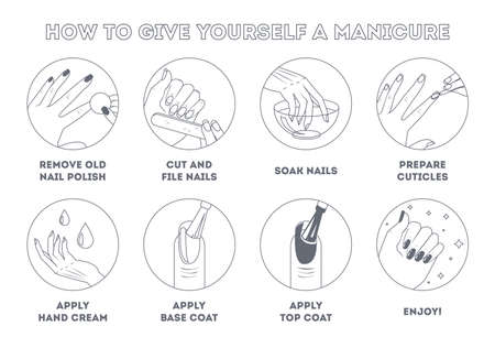 How to give yourself manicure at home  イラスト・ベクター素材