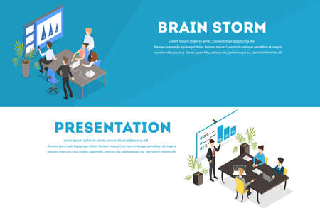 Business teamwork set. People working in team Ilustrace