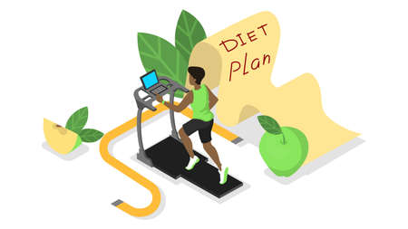 Diet plan concept. Nutriotion control and healthy food, physical activity. How to get in fit. Man training on treadmill with measuring tape around. Isolated vector isometric illustration