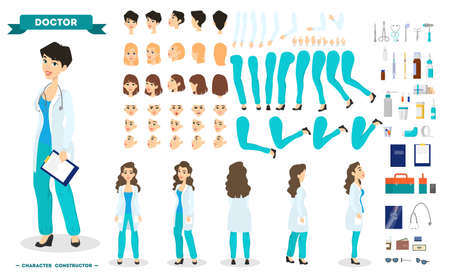 Female doctor character set for the animation