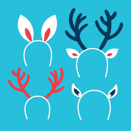 Cute set of christmas headband, part of winter holiday outfit. Decoration for costume. Reindeer horn and rabbit ear. Flat vector illustration
