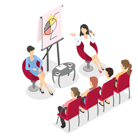 Business people work in team, brainstorm and make up future strategy. Presentation demonstration on the conference with diagram. Isolated vector isometric illustration