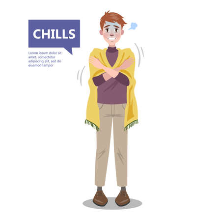 Man with a chill. Symptom of disease Ilustrace