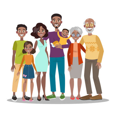 Mom and dad, children and their grandparents