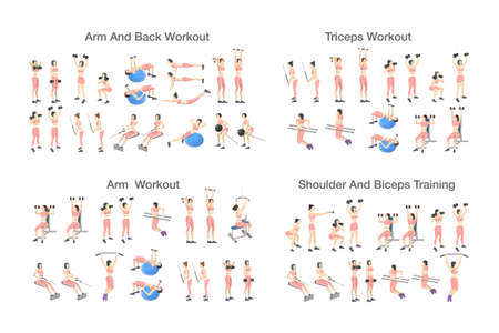 Big set of people doing exercises in the gym. Workout with dumbbell for different groups of muscles. Arm and upper body training for women. Isolated flat vector illustration