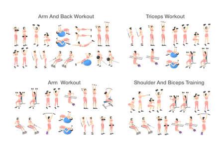 Grand ensemble de personnes faisant des exercices dans la salle de gym. Entraînement avec haltères pour différents groupes de muscles. Entraînement des bras et du haut du corps pour les femmes. Illustration vectorielle plane isolée