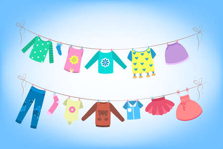 Cute baby clothes drying on the rope.Clothing on the washing line. Dress and costume, panties and shorts. Flat vector illustration Ilustrace