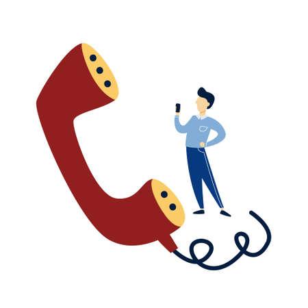 Man staande op een gigantische handset. Idee van klantenservice Vector Illustratie