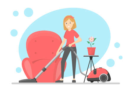 Woman clean the house with vacuum cleaner Ilustracja
