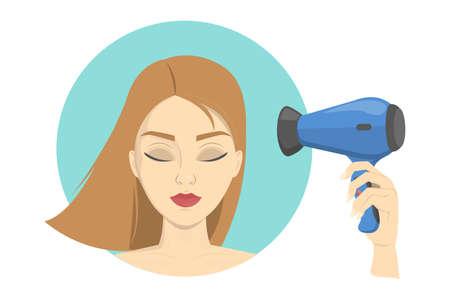 Belle femme sèche ses cheveux à l'aide d'un sèche-cheveux. Coiffer les cheveux. Idée de beauté et de mode. Soin des cheveux blonds. Illustration vectorielle isolé