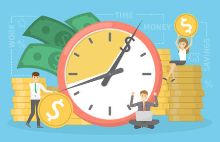 Time is money concept. Idea of investment and banking. Financial organization and cash management. Flat vector illustration Illustration