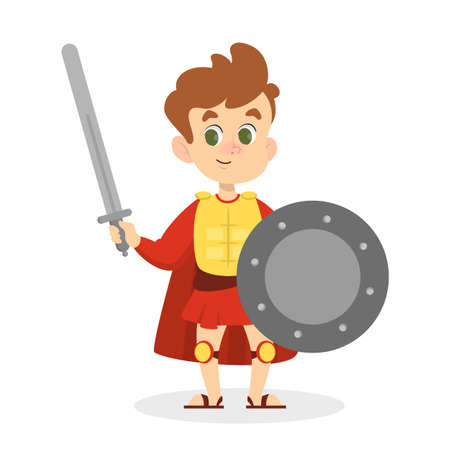 Child in medieval costume with shied and sword
