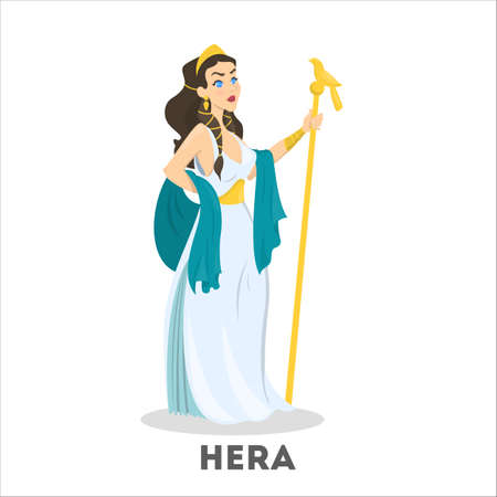 Ancient greek goddess Hera. Mythology god character Çizim