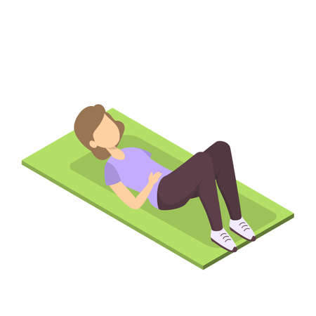 Woman doing ABS exercise for athletic body