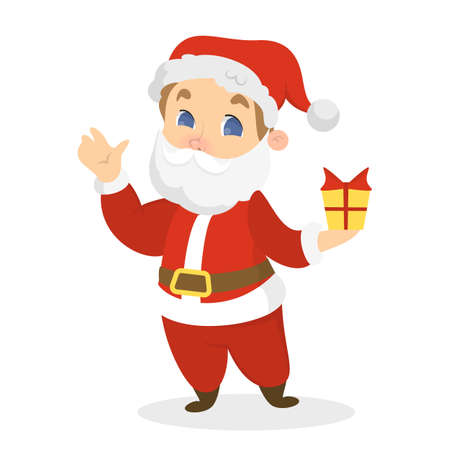 Child in red Santa Claus costume with white beard and hat