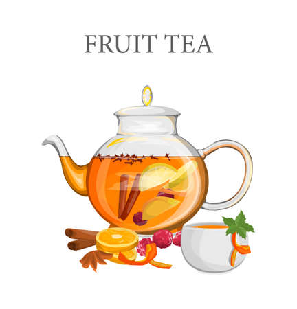 Fruit tea in a glass kettke with orange and cinnamon