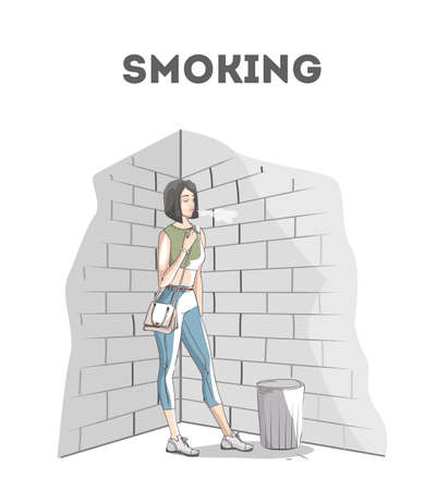 The woman holding a cigarette and smoking