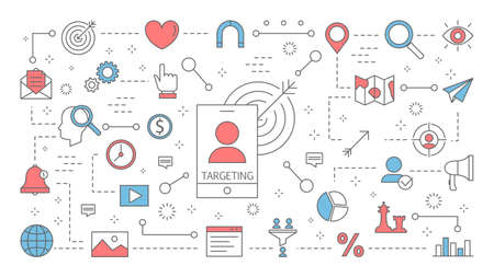 Targeting concept. Idea of business marketing strategy Vector Illustratie