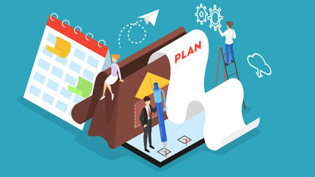 Business people working in team and plannnig time Illustration